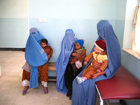Afghan ladies waiting to be treated