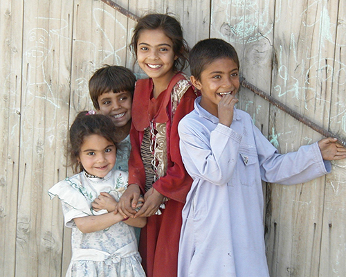 Afghan children smiling