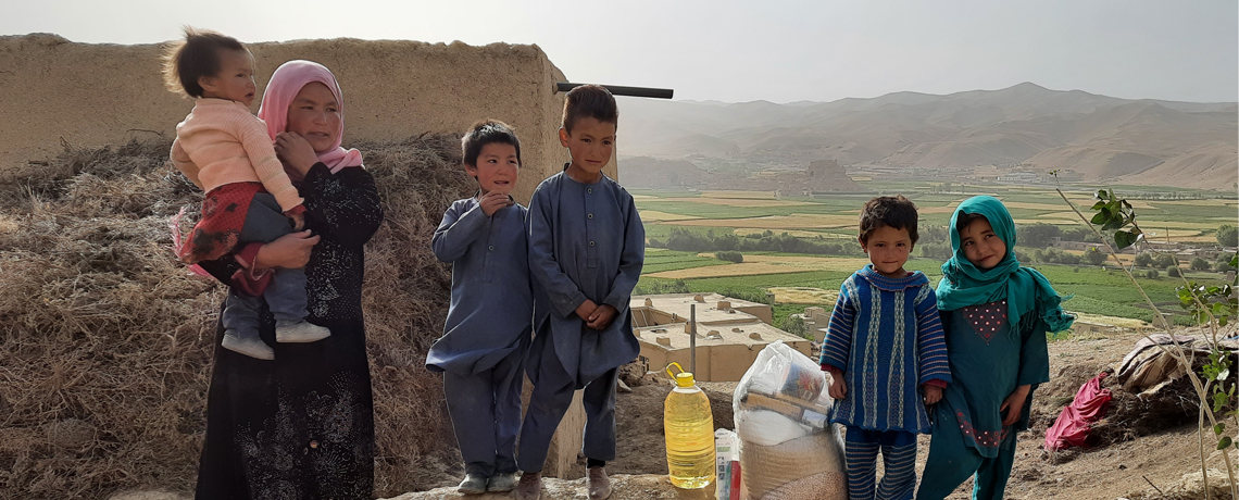 Afghan family receives supplies during Covid-19 relief outreach